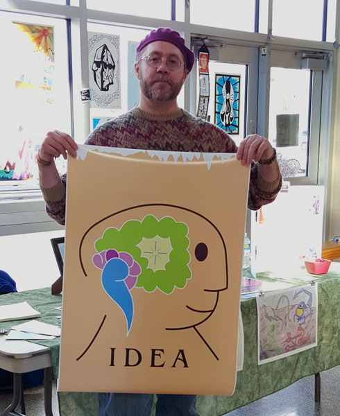 Monty Milne with his Idea art poster donation