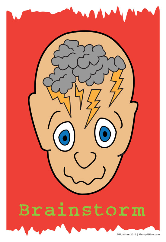 Cartoon face of glaring man with thunderstorm in his head