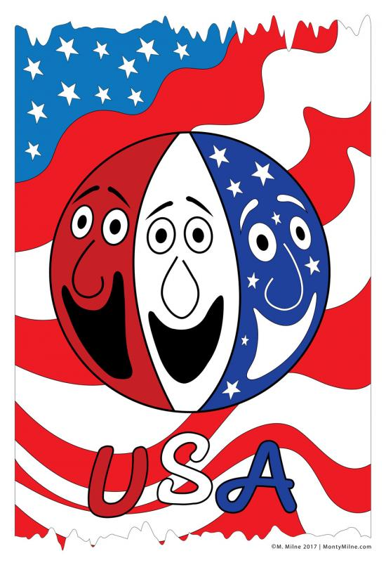 A circle with red, white, and blue faces with an American flag background