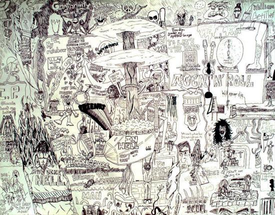Pen and Ink drawn collage of random people and things