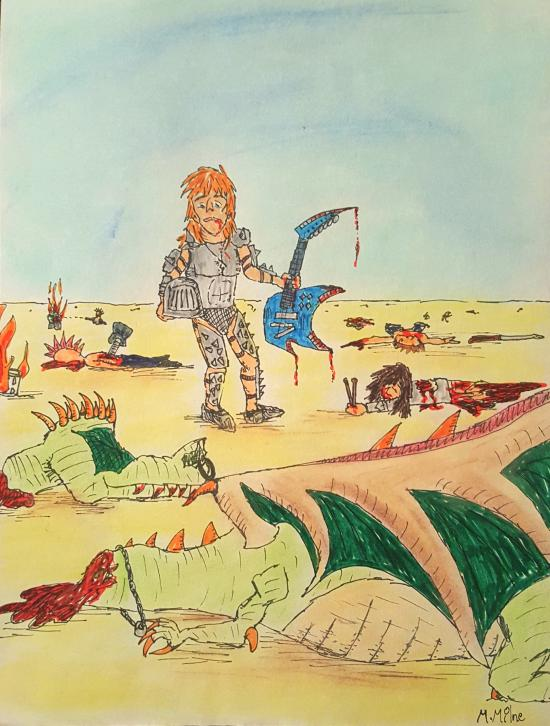A blond haired male knight slays a dragon with his Electric Guitar Ax