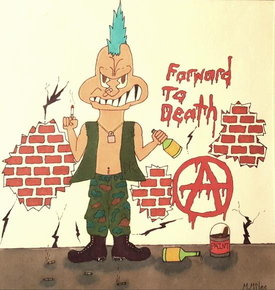 A punk rocker against a wall, smoking and drinking a bottle of wine