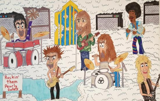 A colorful illustration showing Keith Moon, John Bonham, John Lennon, Jimi Hendrix, Sid Vicious, and Randy Rhoads playing in the sky
